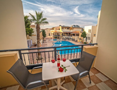 Blue Aegean Hotel & Suites in Gouves Crete Superior Two Bedroom Suite view from room.